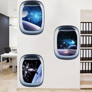 3D космическая галактика, планеты, настенная наклейка, Вселенная, звезда, настенная бумага, Водонепроницаемый Виниловый арт, настенная наклейка, украшение для детской комнаты, Pegatinas