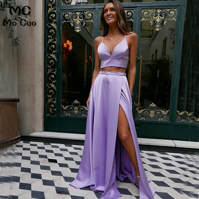 2019 Two Pieces Gown Evening Dresses Straps V Neck Backless Front Slit Women s Evening Dress