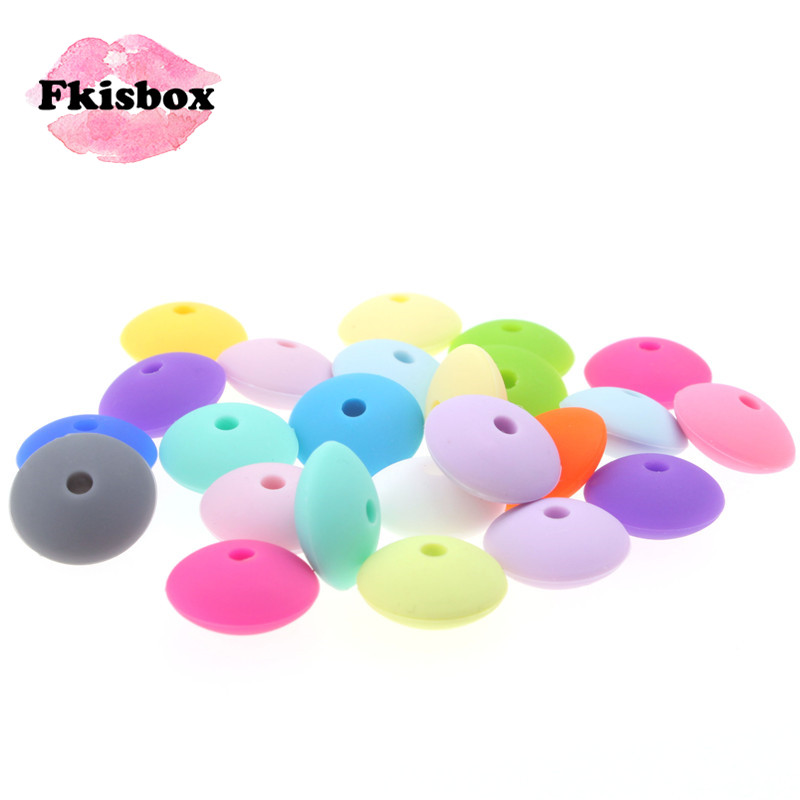 12mm*6mm 200PC Flat Lentils Beads Silicone Baby Teether Abacus Spacing Bead BPA Free Infant Teething Necklace Pacifier Chain DIY