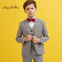 England Plaid Boys Blazer 3 Pcs Wedding Suits For Boy Formal Dress Suit Boys Wedding Suit Kid Tuxedos Page Boy Outfits