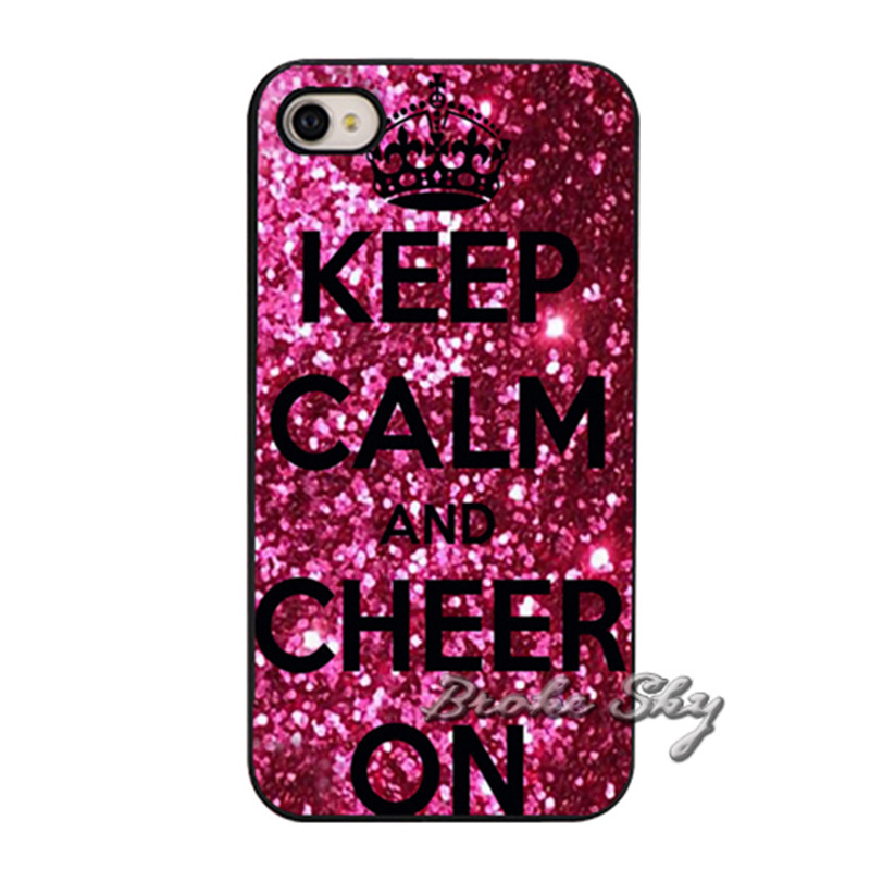 separation shoes 76b25 f599d Keep Calm and Cheer on Cheerleading Gymnastics Cute Pink Cell Phone Cover  Case for iPhone 4 4S 5 5S 5C 6 6S 7 8 Plus X-in Fitted Cases from  Cellphones ...