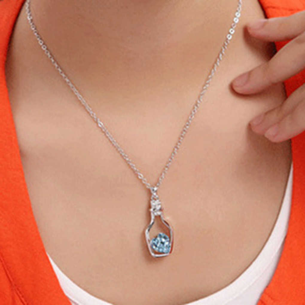 Lovely Arrive Red Blue Crystal In Drift Bottle Necklace Jewel Alloy Necklace For For Women Girls