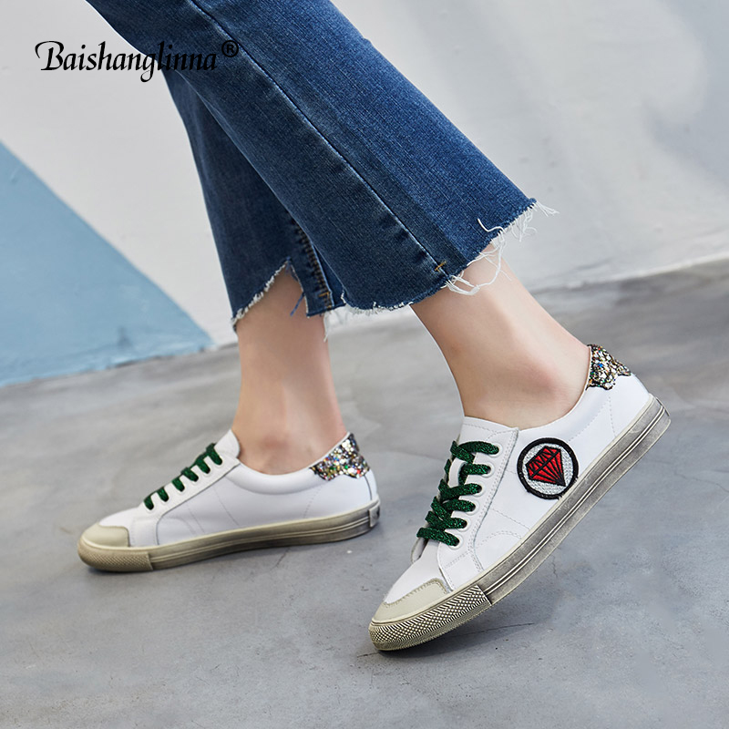 2018 women spring autumn sneakers leisure shoes flats genuine leather casual shoes women Mixed color lace up round toe handmade tfsland men women genuine leather loafers students white shoes unisex spring round toe lace up breathable walking shoes sneakers