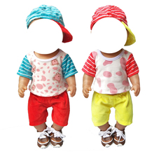 For 43cm  doll shirt pants cap for 18 inch girl clothes accessories baby gifts