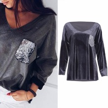 07f9ce0a851 Women Long Sleeve V Collar Sequins Blouse Top Tees Casual Loose  T-Shirt(China
