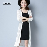 XJXKS Elegant Women Sweaters Spring Summer Thin Cardigans Knitted Long Cardigan Hollow Out Casual Femme Sweater