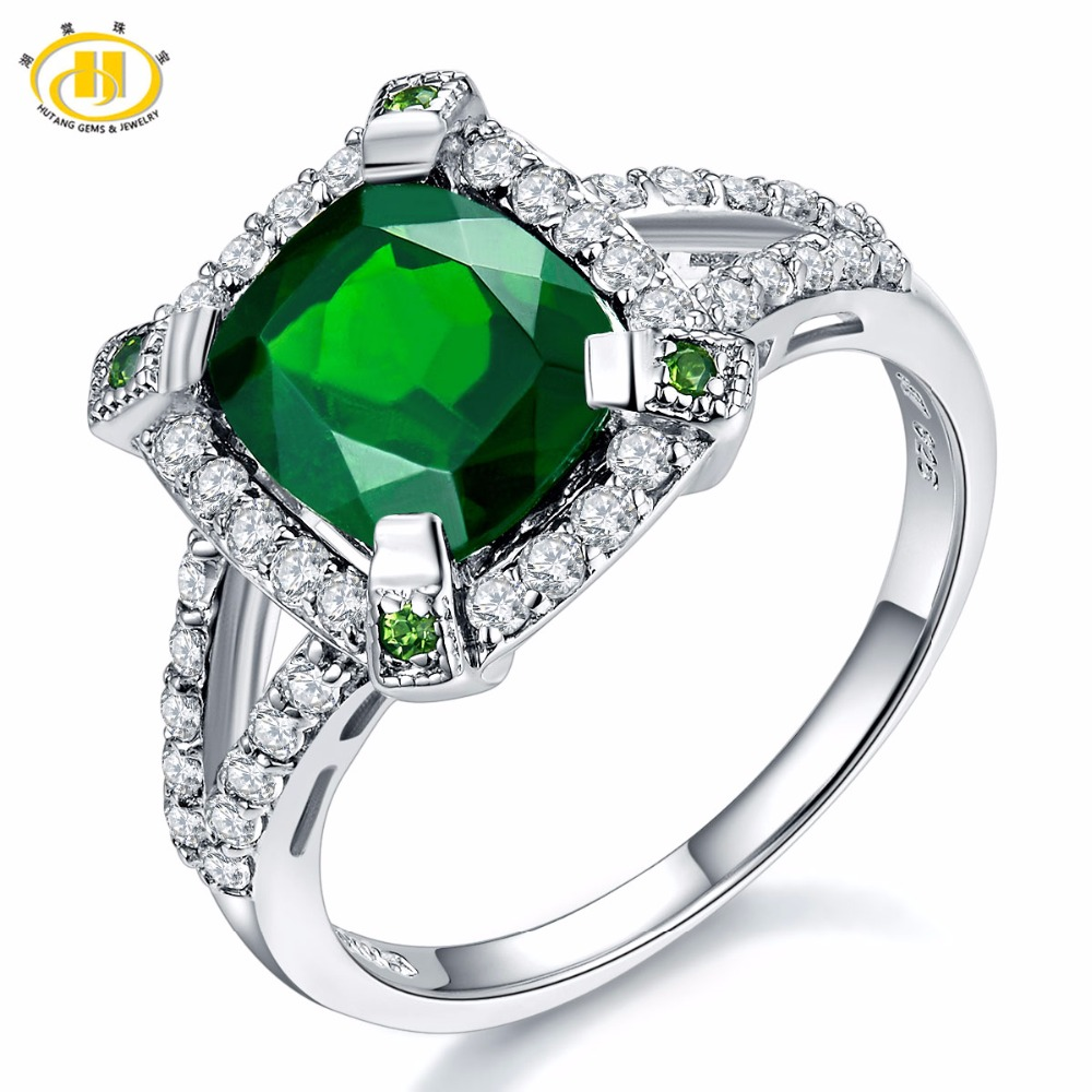 Hutang Solid 925 Sterling Silver 3.14ct Natural Chrome Diopside & White Topaz Ring Women's Gemstone Fine Jewelry 2017 New цена и фото