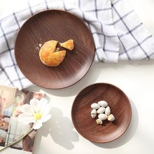 Imported Black Walnut Wood Japanese Food Sweets Serving Tray Dessert Snack Cake Wooden Trays Brown High Quality Round Plate Dish(China)
