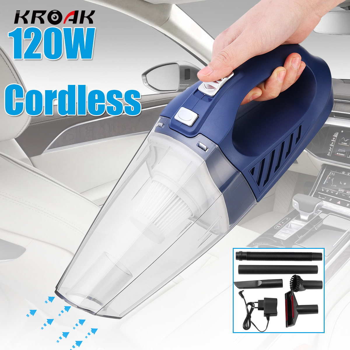 120W Wireless Handheld Car Vacuum Cleaner Cordless Portable Wet Dry Dual Use Vacuum Cleaner for Car Household Clean Appliances