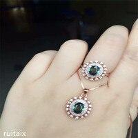 KJJEAXCMY бутик jewels 925 пробы серебряной инкрустацией Природный сапфир Сплав ожерелье + кулон + кольцо женский цветок язык