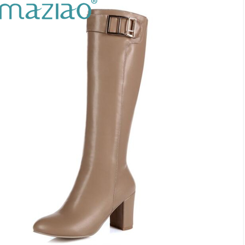 MAZIAO Big Size 34 43 Ladies Knee High Boots Thick High Heels Shoes Woman Winter Boots Zipper Buckle Strap Footwear Platform
