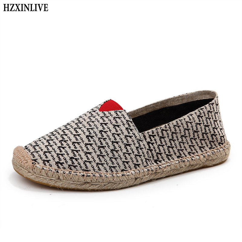 HZXINLIVE 2018 Plus Size Flats Women Canvas Hemp Shoes Flexible Flat for Women Ladies Summer Loafers Breathable Zapatos Mujer vintage embroidery women flats chinese floral canvas embroidered shoes national old beijing cloth single dance soft flats