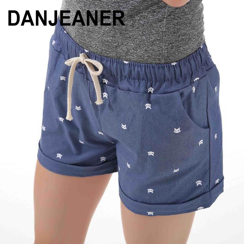 2018 Brand New Summer Women Casual Elastic Waist Cotton Shorts Printed Cat Drawstring Slim Shorts Candy Colors Women Shorts