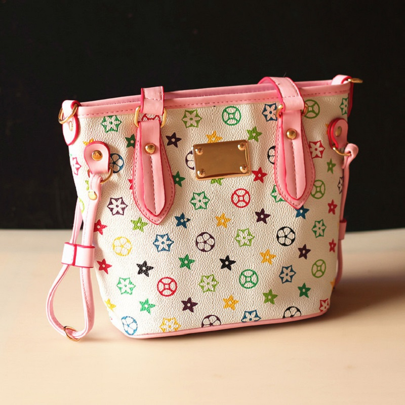 PU leather printing floral printing princess children school bags kids messenger crossbody pouches for kindergaten baby girls