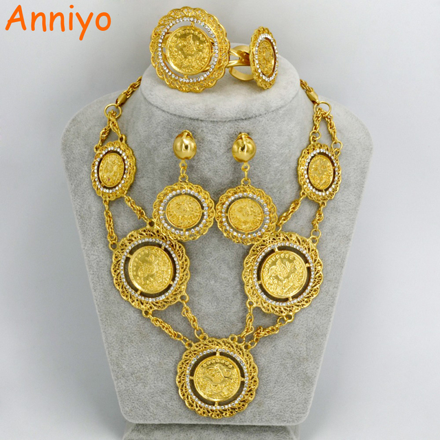 Anniyo 70CM Necklace Earrings Ring Bangle Big Coin Jewelry sets Gold Color Turkey Coins Arab Gifts Turks Africa Party #057506