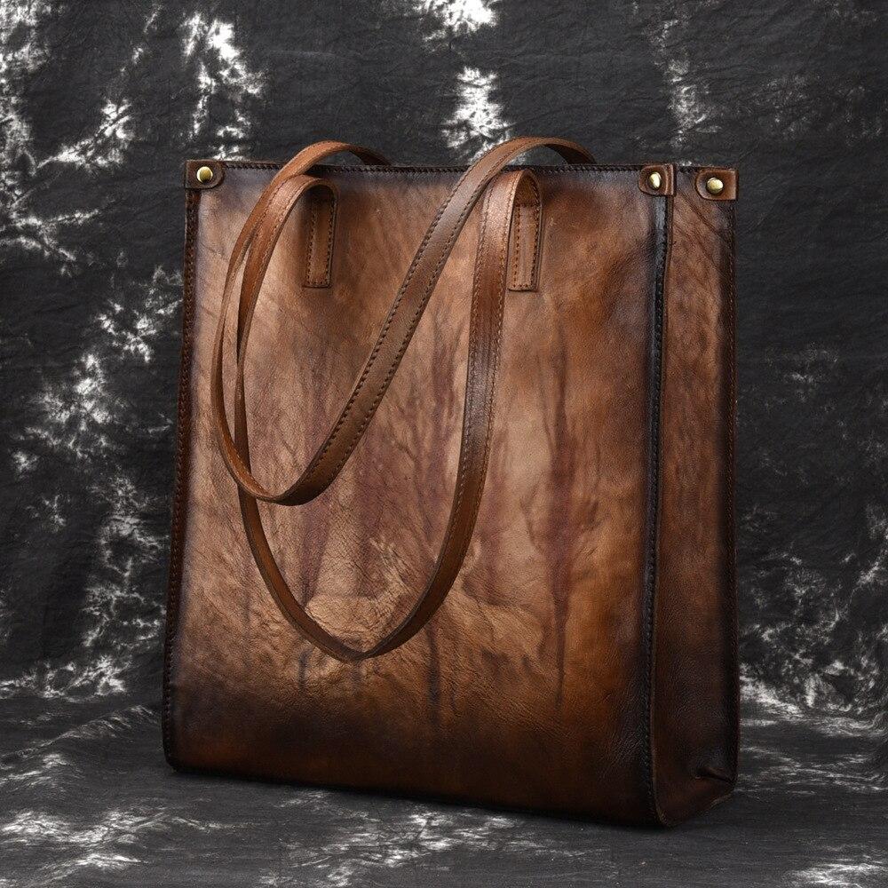 Nouvelle marque femme en cuir véritable sacs à main dames rétro élégant épaule Messenger sac en cuir de vache à la main femme sacs grand-in Sacs à poignées supérieures from Baggages et sacs    1