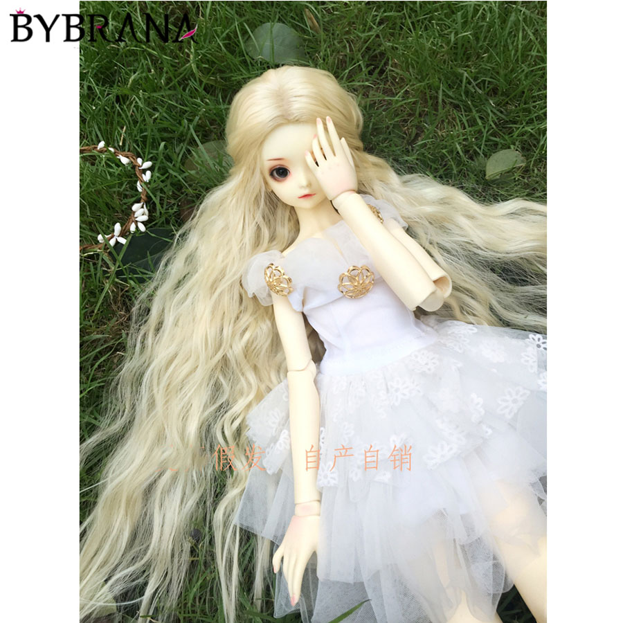 Bybrana BJD Wig For 1/3 1/4 1/6 1/8 High Temperature Fiber Girl Black And White Gradient Straight Hair Uncle Modelsfor Dolls
