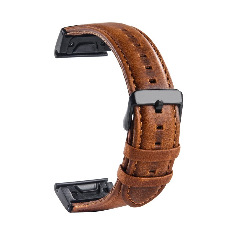 Crazy Horse Leather Band Wristband For Garmin Fenix 3/Fenix 3 HR/Fenix 5X Quick Release,Garmin Fenix 5x Quick Fit Strap 22mm