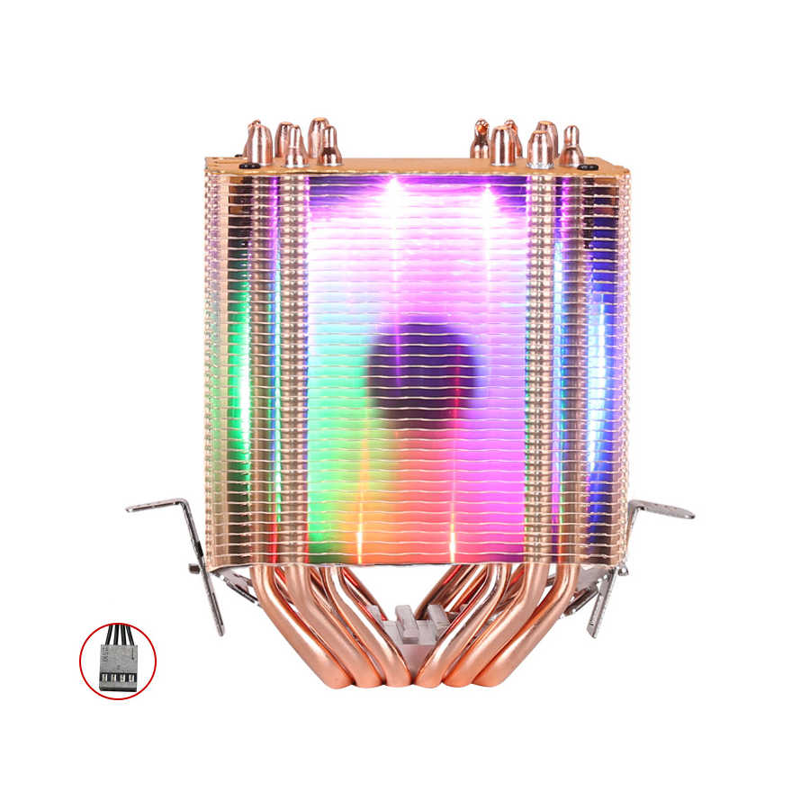 Dispositivo di raffreddamento della CPU di Alta qualità 6 tubi di calore dual-torre di raffreddamento 9 centimetri RGB supporto del ventilatore 3 fan 4PIN CPU Ventola di raffreddamento per Intel e AMD