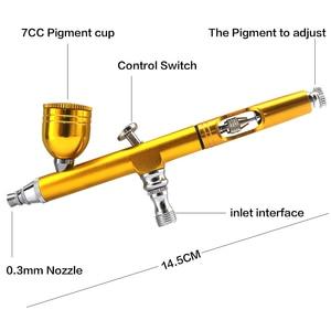 Image 5 - 0.3mm 7cc Dual פעולה Feed Airbrush הכבידה אוויר מברשת ספריי אקדח ערכת איפור נייל אמנות עיצוב קרפט קעקוע עוגת קישוט