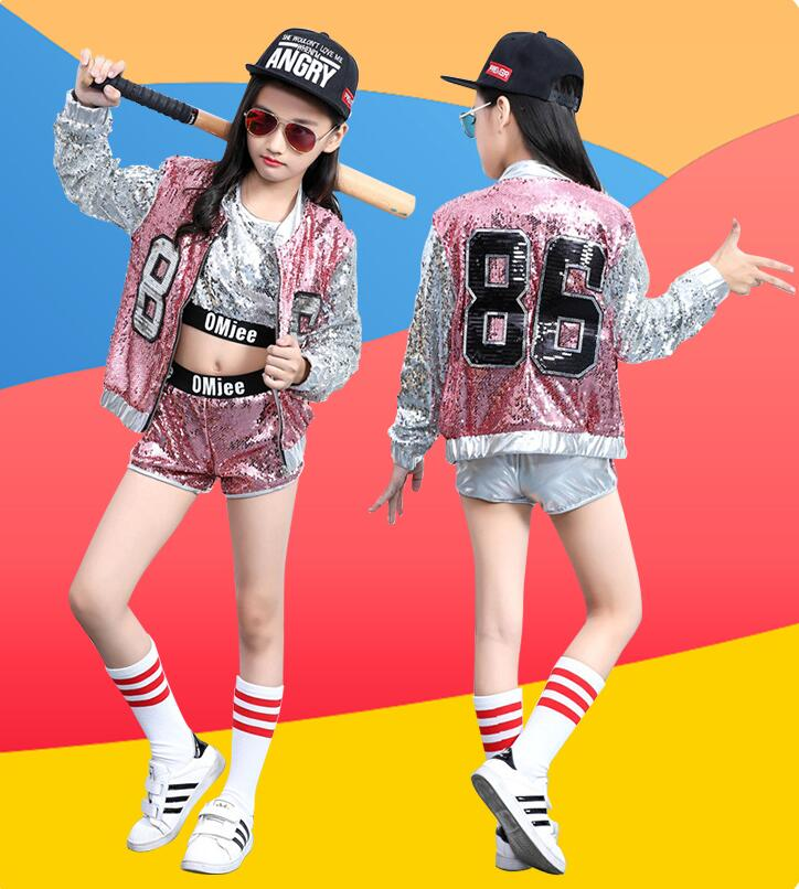 Show details for 2019 Children Jazz Modern Dance Costume Kids Hip Hop Clothing Streetwear Sequin Hiphop Jacket T-shirt Jazz Dresses For Girls