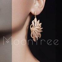 MoonTree 68mm Luxury Lotus Seawee Flower Full Micro Cubic Zirconia Copper Women Engagement Party Dress Earring Fashion Jewelry