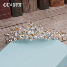 CC&BYX Fashion Jewelry Crystal Wedding Tiara Romantic Gold Crown for Queen Princess Party Wedding Decoration Hair Accessory 0567