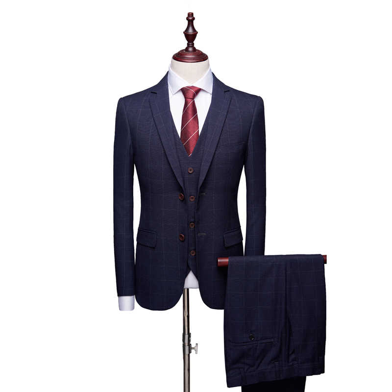 2019 New Men's Plaid Striped Three-piece Wedding Party Male Suit Jacket With Pant And Vest S-4XL Blue Gray Blazers