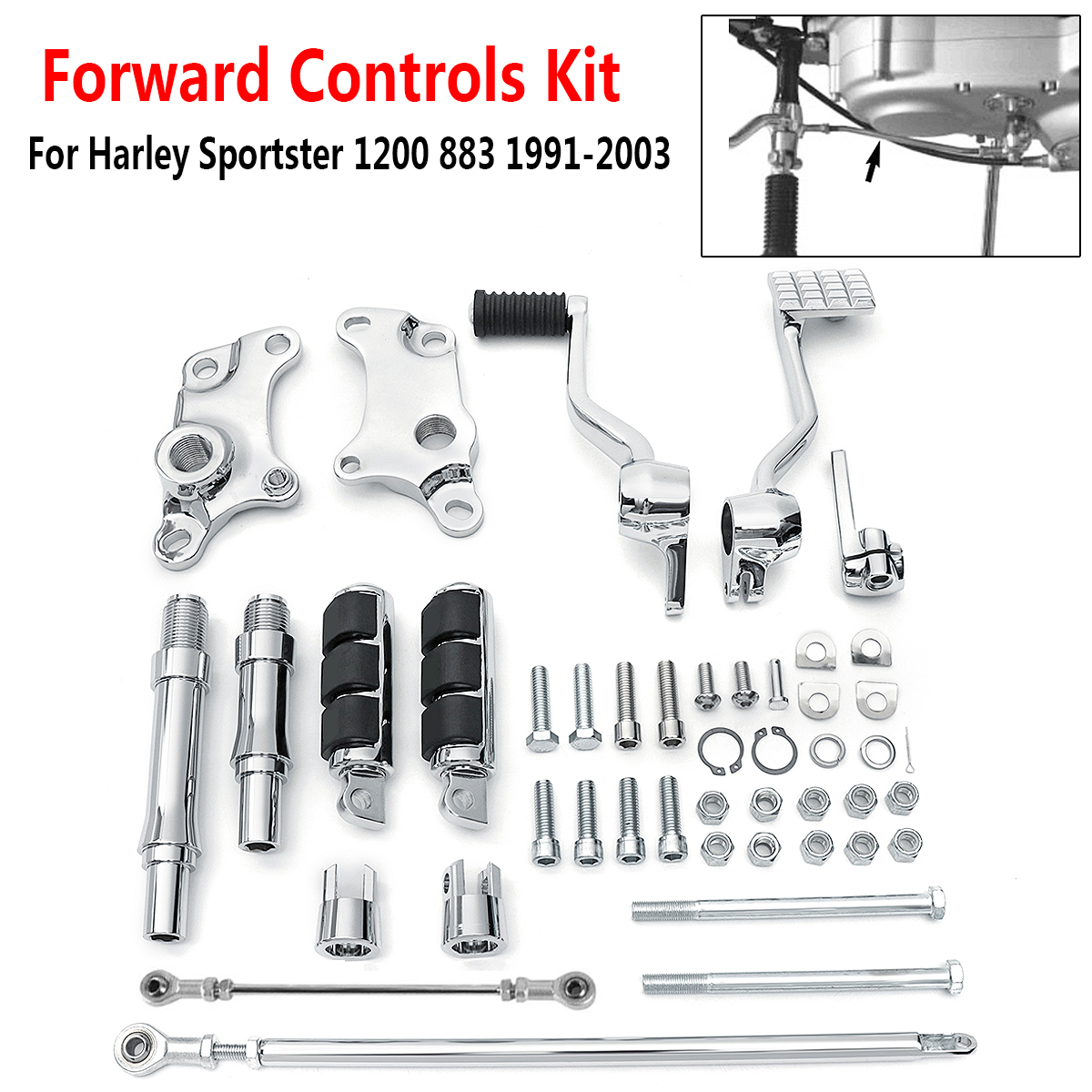 1991-2003 Forward Controls Pegs Levers Linkage Kit for Harley Sportster 1200 883 Foot Rests gloss black forward controls edge cut pegs levers linkages for harley xl 883 1200 2014up