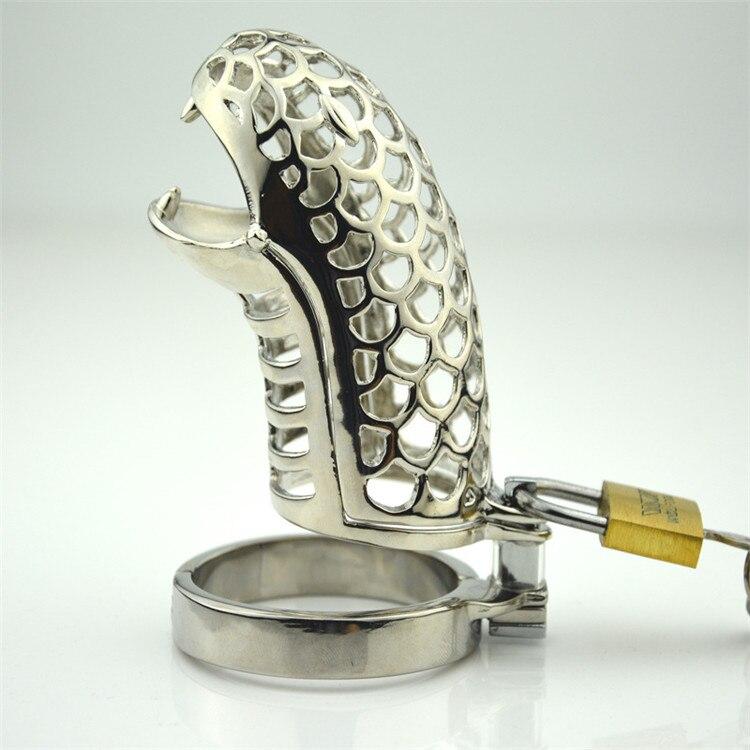 Acier inoxydable Pénis serrure Cobra Cock Cage Male Chastity Dispositif Pénis Serrures Pour Hommes chasteté verrouillage cadenas à clé