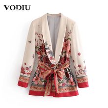 2019 Autumn Women's Suit Blazer Elegant Jacket With Belt Vintage Print Wide Leg