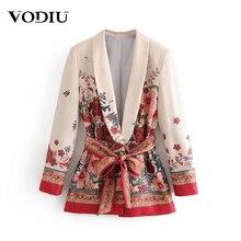2020 Autumn Women's Suit Blazer Elegant Jacket With Belt Vin