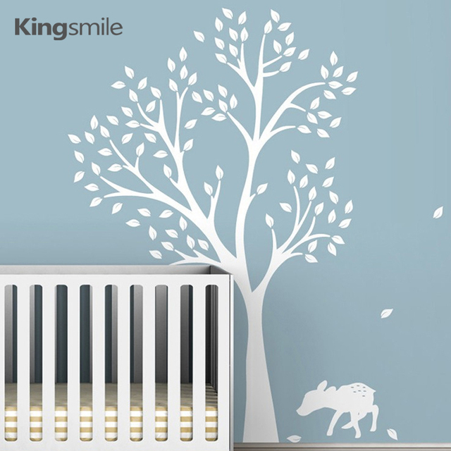 Modern Fawn Tree Deer Wall Stickers Nursery White Tree Branches Wall ...