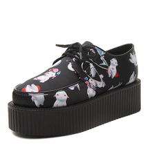 The Newest design women cartoon platform creepers fashion Harajuku lace up goth punk shoes pattern shoes for woman