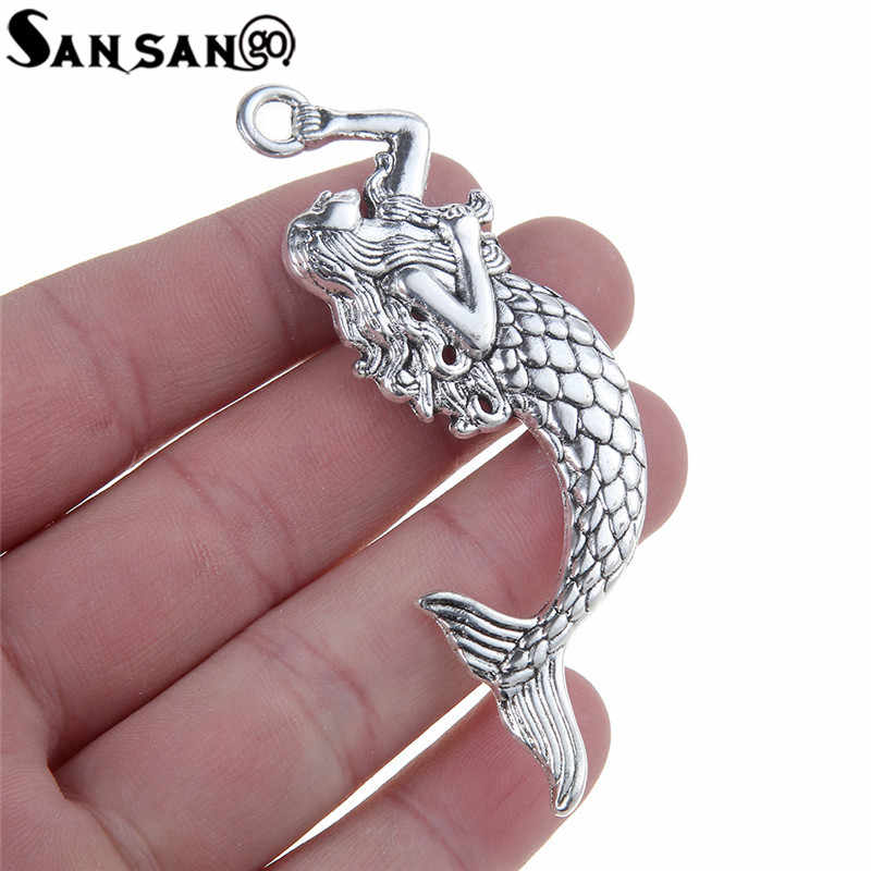 6pcs Big Size Alloy Silver Tone Mermaid Charms Pendant  For Necklace & Pendant Jewelry Making 7.5*2cm