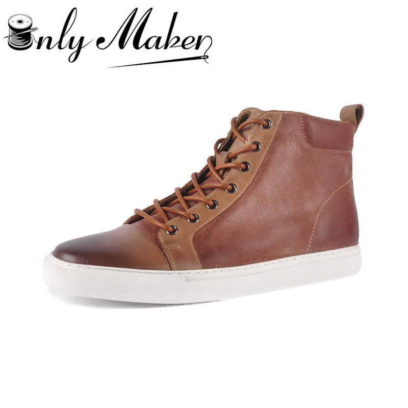 onlymaker Yolkomo Men's Calf Leather Chukka Boots Classic High-top Roud-toe Fashion Design Sneaker Shoes