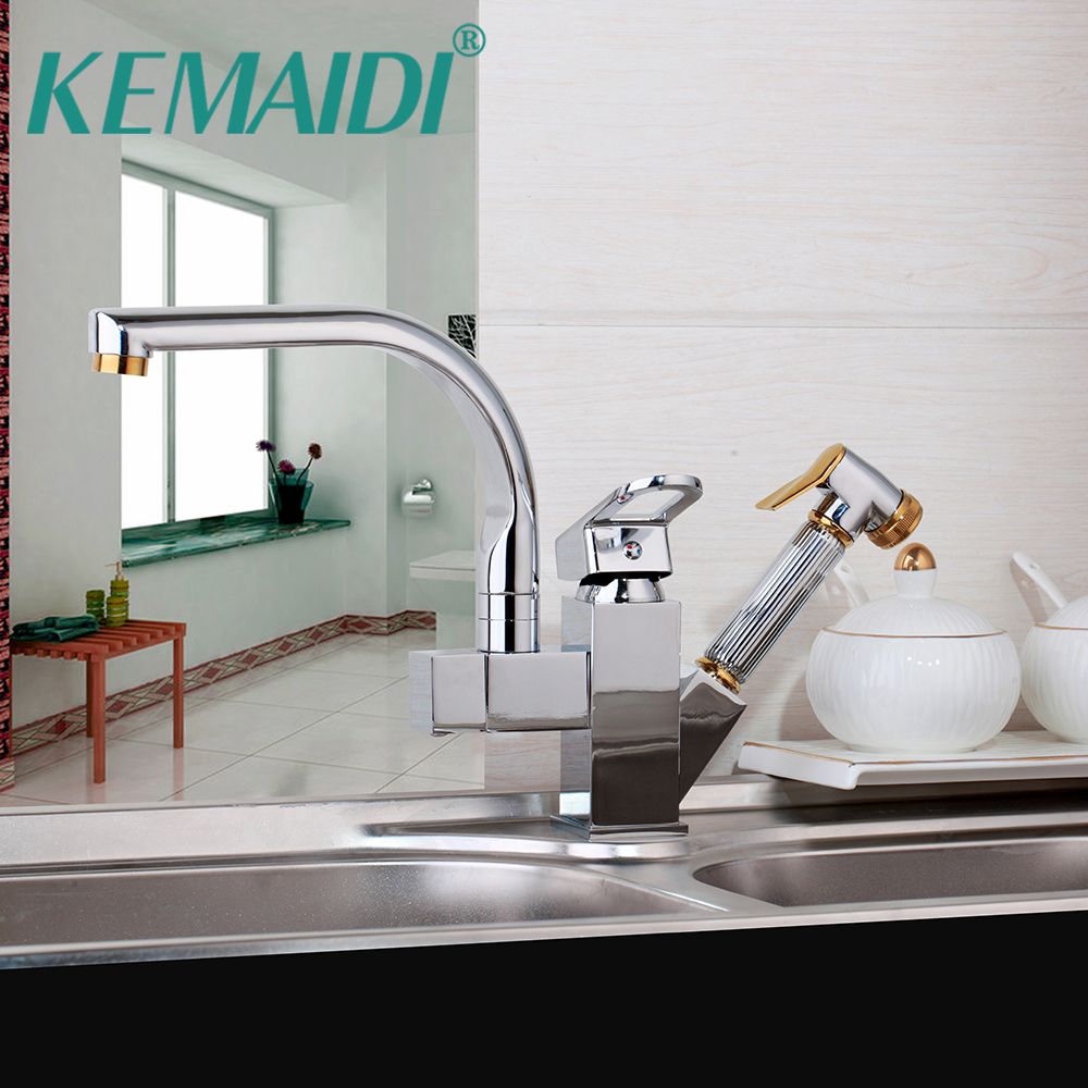 KEMAIDI 6 Choice Pull Out Kitchen Faucet Chrome Finish Mixer Deck Mounted  Tap Single Handle Dual Sprayer Mixer ORB Nickel Brush