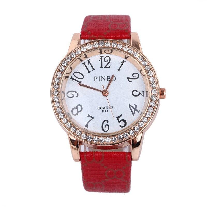 Famous Top Brand PINBO Belt Quartz Men's Watch Fashion Crystal Ladies Watch Low Price Christmas Gift Watch Relogio Feminino