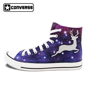 894789b679 Converse Man Hand Painted Shoes Woman All Star Design Deer Elk Galaxy Stars  Athletic