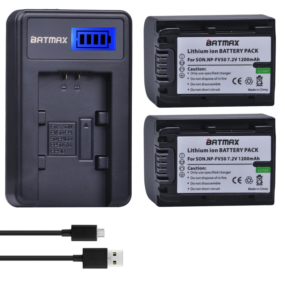 2Pcs NP-FV50 NP FV50 Camera Batteries + LCD USB Charger for SONY HDR CX390 290E PJ510 820E 790E 660E XR260 CX700E PJ50E 30E SR68 аккумуляторы для цифровых фото и видео камер sony np fv50 hdr td10 dcr sr20e fh fp