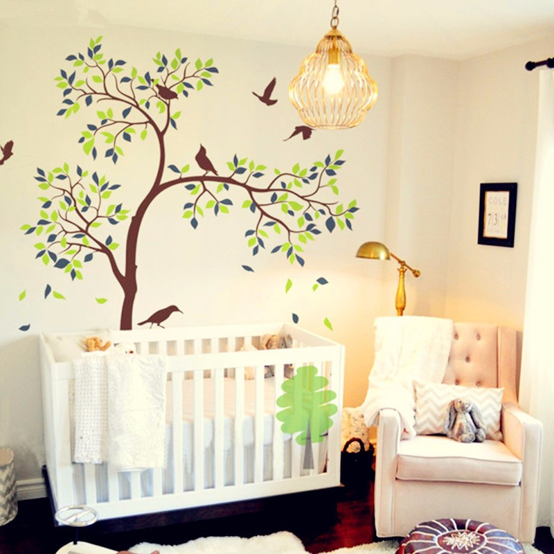 Huge White Tree Wall Decal Vinyl Sticker Birds Tree Baby Nursery ...