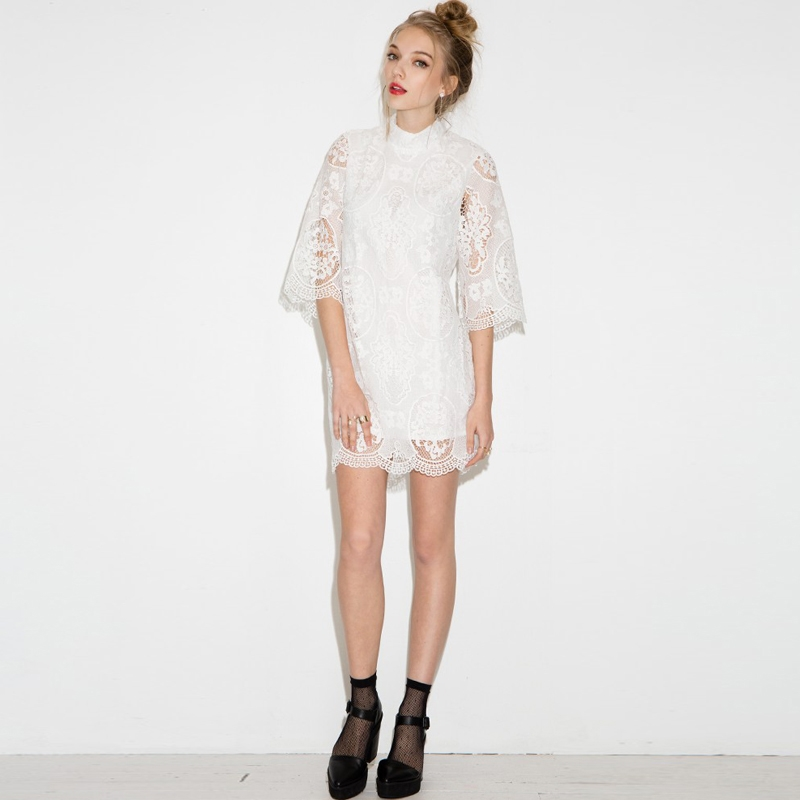 HDY Summer Dress Half Sleeve Ladies Summer Dresses Casual Lace Dress Mini Hollow Out White Lace Dresses for Women 2018 9