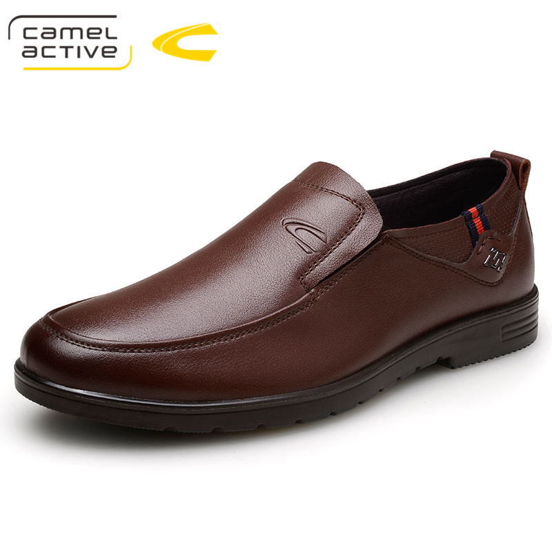 Camel Active Oxford Derby Shoes Slip-On Men Dress Shoes Brown Genuine Leather Office Party Wedding Formal Business Shoes Luxury цена 2017