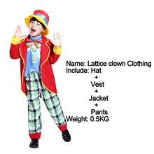 Бесплатная доставка, костюмы на Хэллоуин платье для маскарада, вечеринки на шнуровке COS мальчик ребенок клоуна шоу сценический костюм краси...