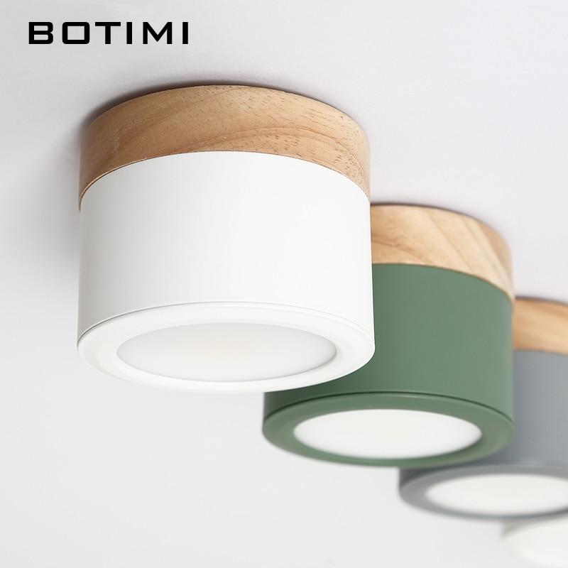 BOTIMI Nordic светодио дный светодиодные потолочные светильники с металлическим абажуром для коридора В 220 В круглый деревянный потолочный свети...
