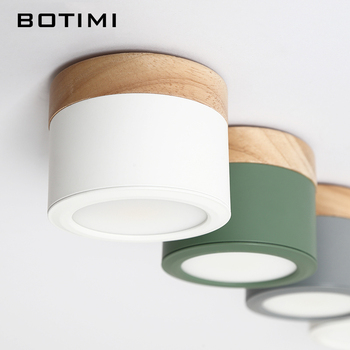 BOTIMI, luces con pantalla de Metal nórdica para techo, para pasillo, lámpara de techo redonda de madera de 220V, iluminación montada en superficie COB