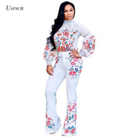 Fall Outfits 2017 Trendy Two Piece Set Women Floral Print Lantern Sleeve Turtleneck Crop Top And