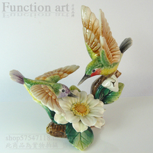 цена на ceramic flower bird figurines home decor ceramic Hummingbird loves ornement crafts room decoration porcelain animal figurine