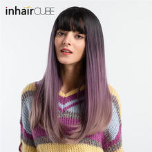 INHAIR CUBE 22 Women Wigs Fashion Synthetic Ombre Long Straight Hair Middle Part Simulation Scalp Fluffy Wig With Bangs(China)