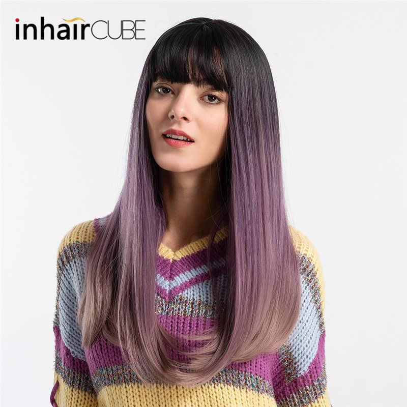 INHAIR cube 22 женские парики модные синтетические Омбре длинные прямые волосы средняя часть моделирование кожи головы пышный парик с челкой